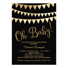 Oh Baby Black Gold Gender Neutral Baby Shower Invitation Card