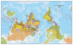upside down world wall map political move your mouse over image or to enlarge