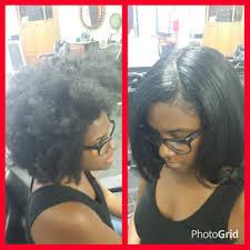 Blowout silk press hair straightening at Trendz by Tammy Hair.