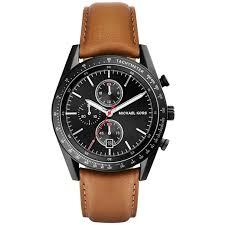 Michael Kors <b>MK8385</b> Accelerator Chronograph Black Dial Tan ...