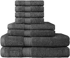 cotton hand towels for bathroom. premium 8 piece towel set (grey); 2 bath towels, hand towels cotton for bathroom n