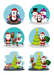 Christmas Scenes Free Downloads Christmas Scenes With Icons Set Vector Free Download