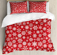 red king size duvet cover set various diffe snowflakes with rich details festive season in wintertime decorative 3 piece bedding set with 2