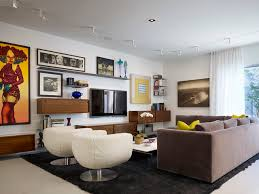 Inspiration for a contemporary living room remodel in Chicago with white  walls and a wall-