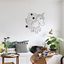 cartoon black unicorn star horse quotes wall art for kids room