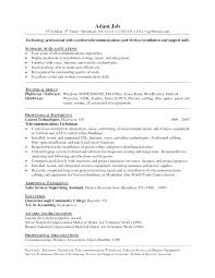 Cover Letter For Telecommunications Telecommunications Resume