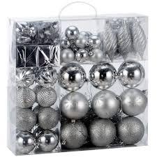 Weihnachtskugeln 103 Tlg Set Silber Weihnachtsbaumschmuck Kunststoff Weihnachtsbaumkugeln Christbaumkugeln Weihnachtsdeko Christbaumschmuck
