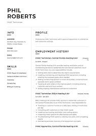 Pdf Resume Builder Hvac Technician Resume Example Template Sample Cv Formal