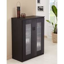 Florina Frosted Glass Front Shoe Cabi Black Walmart Glass Cabinets