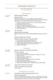 Resume Format For Desktop Support Engineer Desktop Support Engineer Resume Samples Visualcv Resume Samples