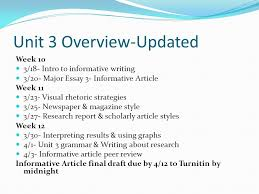 unit overview updated week intro to informative writing  1 unit