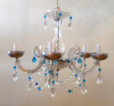 crystal clear and blue crystal chandelier