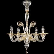venetian blown glass chandelier in crystal glass with amber ts