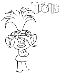 Princess Poppy Coloring Page Pages Flower Colouring Trolls To Print