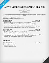 Gallery Of Example Resume Sample Resume Car Salesman Example Of