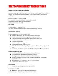 Project Manager Job Description Job Description State Of Emergency