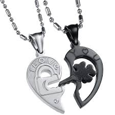 um jewelry his and hers stainless steel crystal lock key puzzle heart pendant couple necklaces black ci11sgsfugt