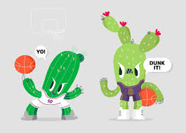 Free Cactus Logo Design Funny Cactus Character Basketball Mascot Vector Illustration