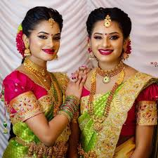 beautiful twins sisters saree ceremony make over b