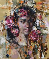 portraits handmade livemaster handmade abstract girl with flowers original oil portrait