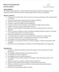medical billing coding job description medical billing and coding resume medical billing and coding resume