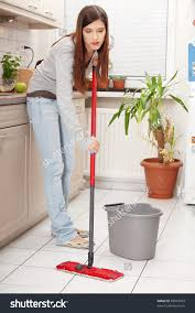 Kitchen Floor Cleaners Woman Holding Mop Cleaning Kitchen Floor Stock Photo 85834453
