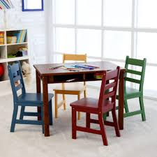 lipper childrens walnut rectangle table and chairs play kitchen dining kids wooden children drawing folding toddler chair set furniture child sized childs
