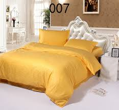 yellow cotton satin stripe 4pcs bedding sets home bedclothes set bed linens duvet cover quilt cover flat bed sheets pillowcase in bedding sets from home