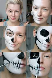 tutorial simple half skull glam make up halloween make up