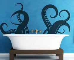 Blue wall art ideas for boys bathroom.