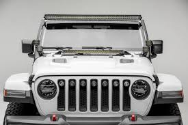 52 Inch Light Bar For Jeep 2018 2019 Jeep Jl Front Roof Led Bracket To Mount 1 50 Or 52 Inch Staight Led Light Bar And 4 3 Inch Led Pod Lights Pn Z374831 Bk4