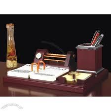 wooden table gift set with clock pen holder name card holder desk calendar