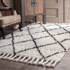 white wool shag rug. Oliver James Zoe Hand Knotted Trellis Wool Shag Rug 8 X 10 Regarding Inspirations 7 White M