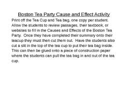 Boston Tea Party Cause And Effect Chart Boston Tea Party Cause And Effect Worksheets Teaching