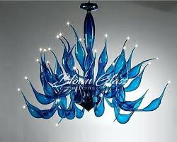 cobalt blue murano glass chandelier crystals prisms lilies up blown collective hand chandeliers home improvement appealing