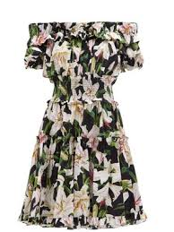Ruffled Lily Print Cotton Poplin Bardot Dress Dolce