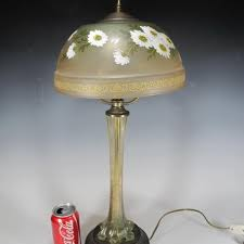 antique glass table lamp signed