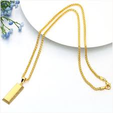 Wholesale Goood4store <b>Gold Cube Bar</b> SUP LOGO Necklace ...