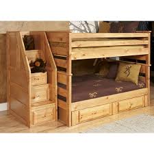 Amusing Solid Wooden Bunk Beds With Brown Covered Sheet And Cute ...
