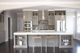 Transitional Kitchen Lighting Grey And White Kitchen Ideas With Round Lamps And Two Chairs