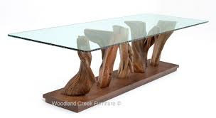 organic modern dining table natural table stump glass