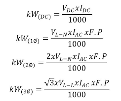 Volts To Kw Calculator Conversion Examples Table And