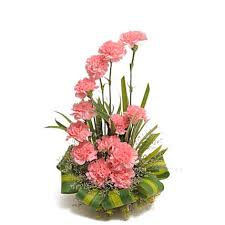pink carnations basket arrangement send gifts to kolkata