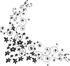 白黒モノクロの花のイラストフリー素材ライン線コーナー用no879