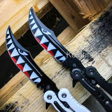 sharp butterfly knives. *sharp* cs go style shark attack balisong butterfly folding pocket knife (sold separately sharp knives r