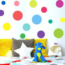 multi sized rainbow colors polka dot wall stickers nursery bedroom decals removable murals self circle gold