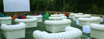 inflatable outdoor furniture. Chesterfield Inflatable Sofas On Tennis Court For Movie Night Outdoor Furniture