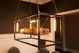 wood beam large chandelier framed light with edison bulbs