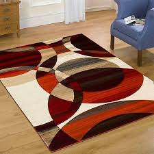 reflections modern swirl circle pattern area rug rust 3 x 8 5 x