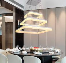 modern led rectangle pendant lamp led chandeliers fixture gold